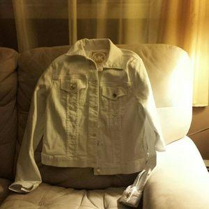 NWT Michael Kors Jean Jacket White medium